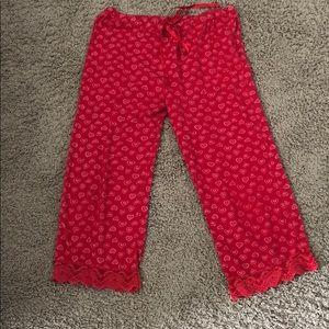 Red heart pajama pants